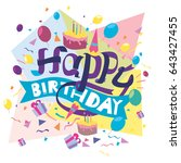 happy birthday typography... | Shutterstock .eps vector #643427455