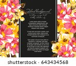 invitation with floral... | Shutterstock . vector #643434568