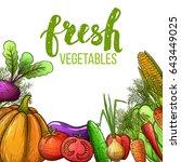 set of colorful sketch... | Shutterstock . vector #643449025