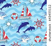 nautical seamless pattern with... | Shutterstock .eps vector #643455112
