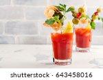 homemade spicy vodka bloody... | Shutterstock . vector #643458016
