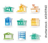 different kind of houses and... | Shutterstock .eps vector #64345960