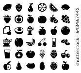 fruit icons set. set of 36... | Shutterstock .eps vector #643467442