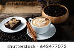 cappuccino and sweet chocolate... | Shutterstock . vector #643477072