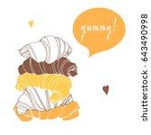 chocolate croissant  vanilla... | Shutterstock .eps vector #643490998
