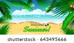 vacation background. beach with ... | Shutterstock .eps vector #643495666
