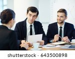 team of young colleagues... | Shutterstock . vector #643500898