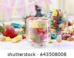 glass jar with sweets.  | Shutterstock . vector #643508008