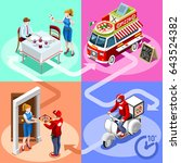 isometric people delivery man... | Shutterstock .eps vector #643524382