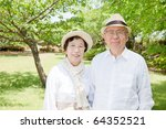 Japanese elderly couple smiling - stock photo