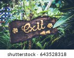 Text Exit On A Wooden Plate In...