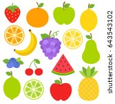 cute bright colors of fruits... | Shutterstock .eps vector #643543102
