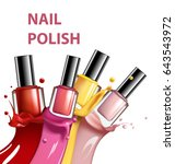 colorful nail lacquer  nail... | Shutterstock . vector #643543972