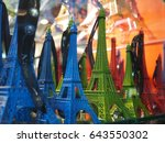 colourful miniatures of eiffel... | Shutterstock . vector #643550302