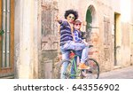 interracial couple of tourists... | Shutterstock . vector #643556902