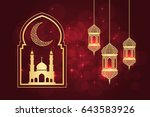 ramadan greeting card on red... | Shutterstock . vector #643583926