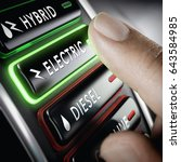 finger pressing a push button... | Shutterstock . vector #643584985