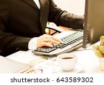 young businessman working at... | Shutterstock . vector #643589302