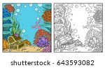 underwater world with corals... | Shutterstock .eps vector #643593082