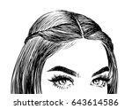 beautiful eyes female | Shutterstock .eps vector #643614586