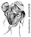 two buns hairstyle   Shutterstock .eps vector #643632658