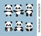 set of cute cartoon panda. | Shutterstock .eps vector #643633678