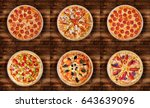 six different pizza set for... | Shutterstock . vector #643639096