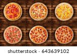 six different pizza set for... | Shutterstock . vector #643639102