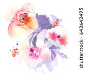 watercolor flower bouquet... | Shutterstock . vector #643642495