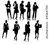 business woman silhouettes... | Shutterstock .eps vector #64364704