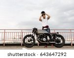 handsome happy rider guy with... | Shutterstock . vector #643647292