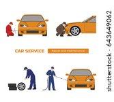 car repair and maintenance .... | Shutterstock . vector #643649062