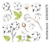 hand painted modern cotton... | Shutterstock . vector #643650475