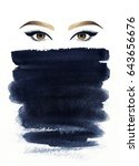 make up. beautiful woman eye...   Shutterstock . vector #643656676