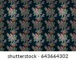 hand drawn seamless flower... | Shutterstock . vector #643664302