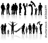 silhouettes of woman  man ... | Shutterstock .eps vector #64366699