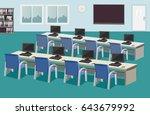 interior of education center.... | Shutterstock .eps vector #643679992