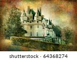 Usse castle - retro styled picture - stock photo