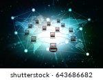 3d rendering computer network | Shutterstock . vector #643686682