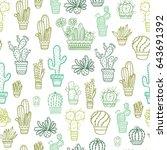 vector cacti pattern | Shutterstock .eps vector #643691392