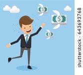 businessman in suit running... | Shutterstock .eps vector #643693768
