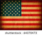 06 Old grunge flag of United States of America with original color, on damaged paper - stock photo