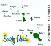society islands map for your... | Shutterstock .eps vector #643708555