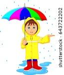 little boy in rain with umbrella | Shutterstock . vector #643722202