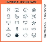animal icons set. collection of ... | Shutterstock .eps vector #643722292