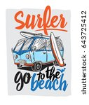 surfer van illustration on... | Shutterstock .eps vector #643725412
