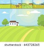 village landscapes vector... | Shutterstock .eps vector #643728265