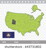 usa utah  state map and flag...   Shutterstock .eps vector #643731802