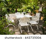 cozy tea table and chairs in... | Shutterstock . vector #643735006