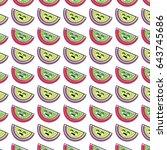 kawaii cute happy apple fruit...   Shutterstock .eps vector #643745686